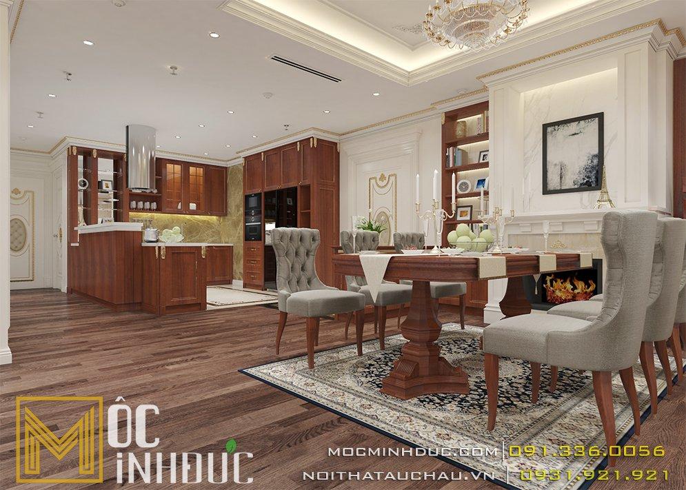 Mẫu nội thất phòng ăn chung cư golden palm