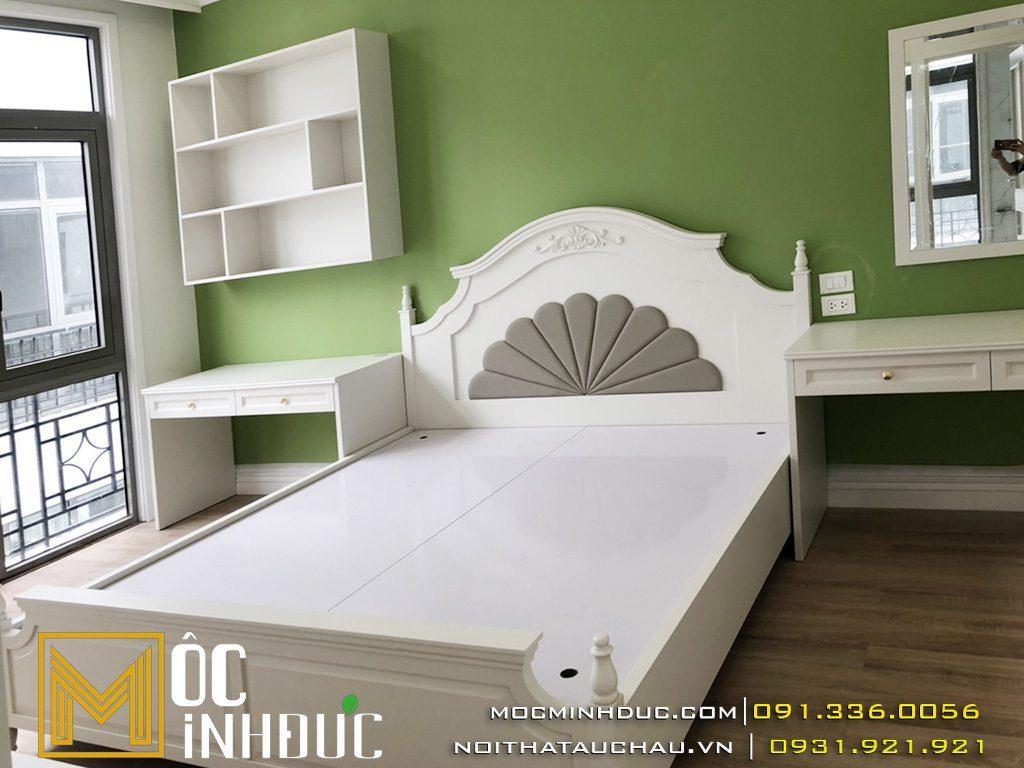 Mẫu giường gỗ công nghiệp đẹp, sang