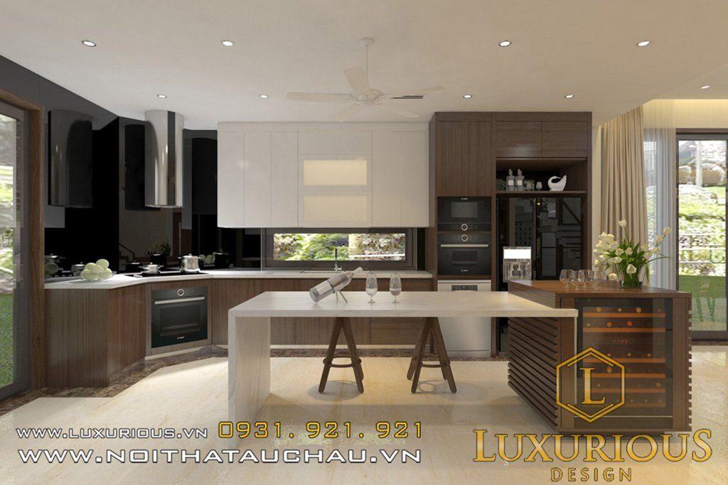 Mẫu nội thất phòng bếp có đảoMẫu nội thất phòng bếp có đảo