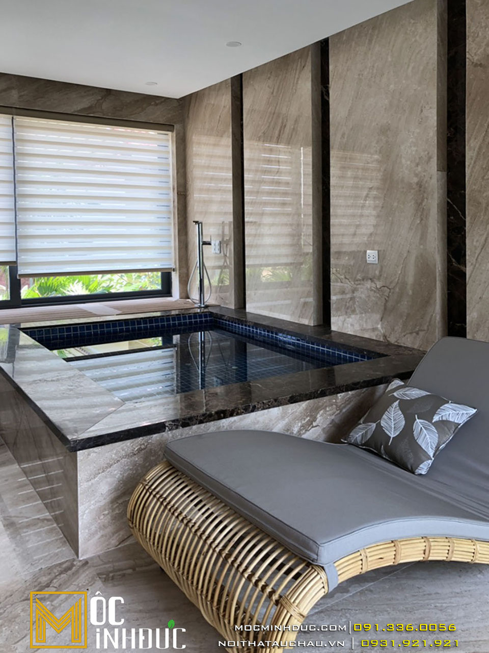 Mẫu biệt thự có bồn tắm ngồi và giường thư giãn