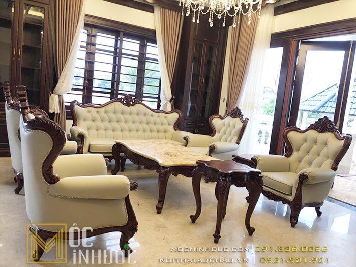 Mẫu bàn ghế gỗ gõ đỏ phòng khách