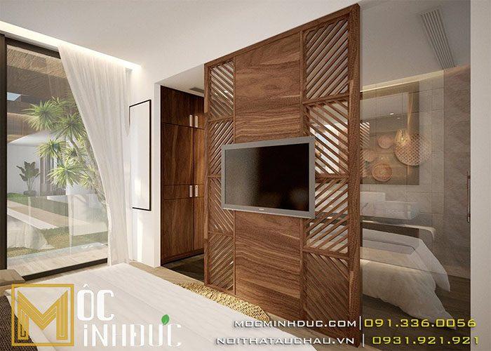 Vách gỗ ốp tường phòng ngủ mang lại cảm giác ấm cúng thư giãn
