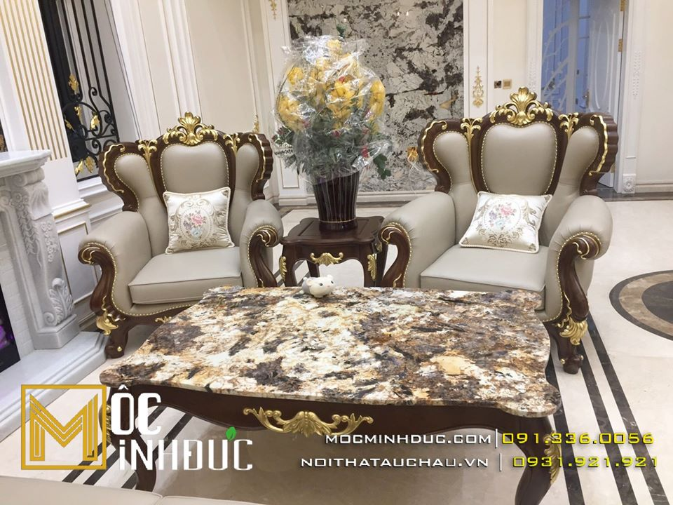 Bộ bàn ghế sofa gỗ gõ đỏ phòng khách