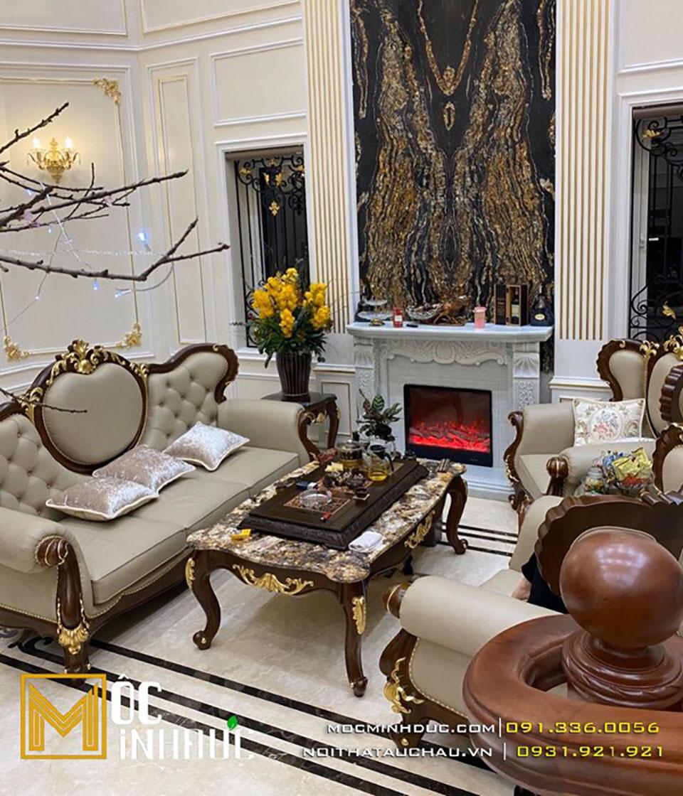 Bộ sofa phòng khách tân cổ điển