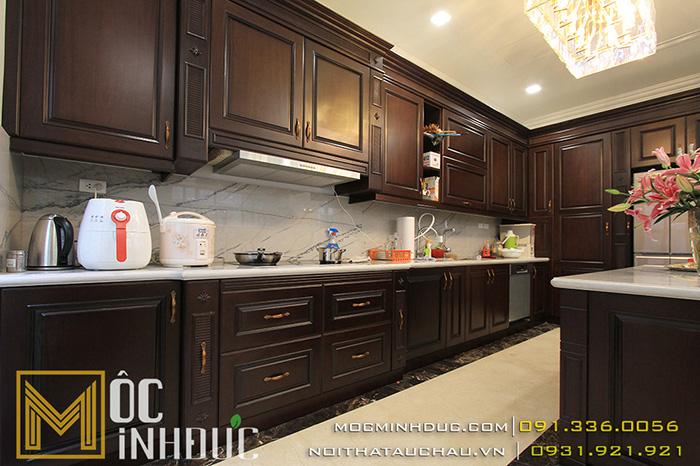 Combo Nội thất phòng bếp gỗ gõ đỏ sơn màu Walnut