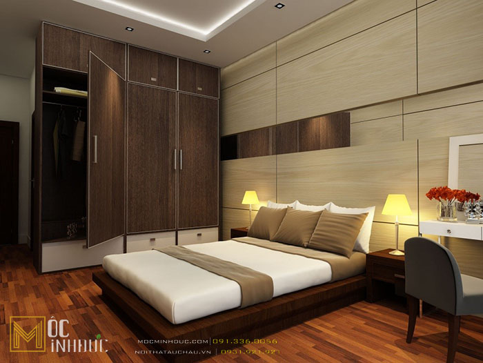 Phòng ngủ với giường gỗ công nghiệp