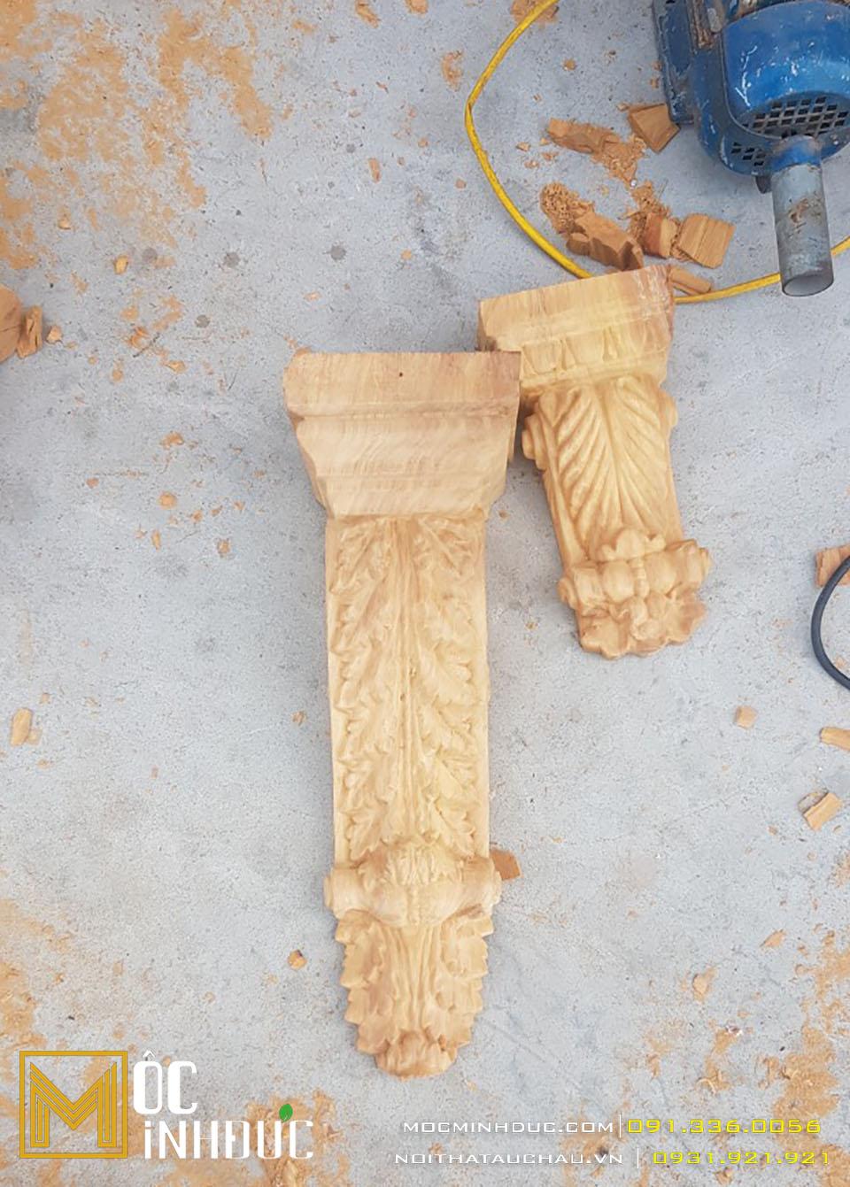 Hoa văn phù điêu đầu cột gỗ đẹp
