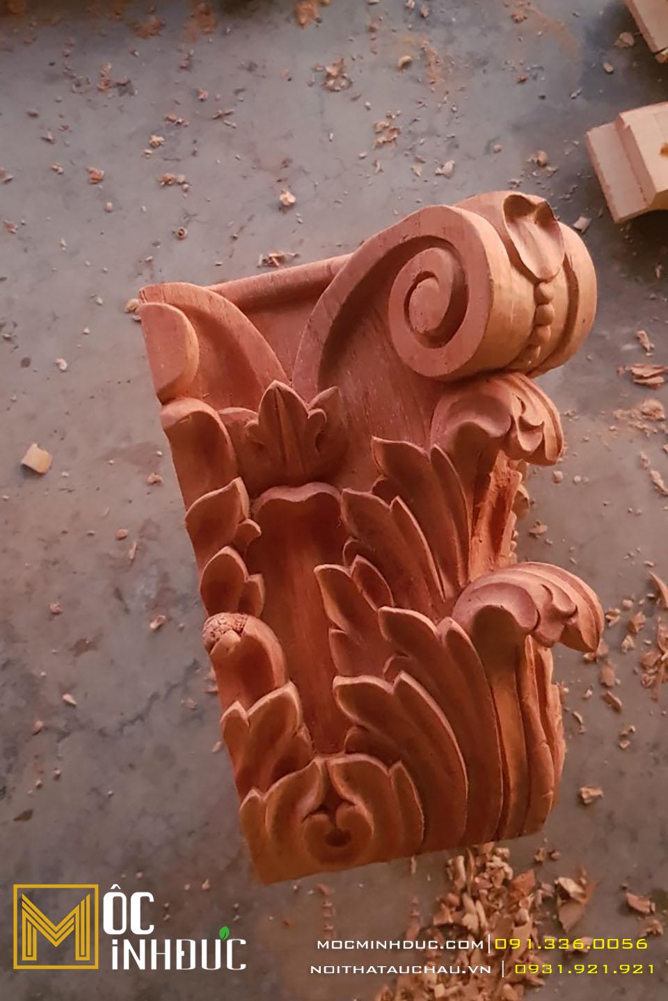 Mẫu hoa văn phù điêu gỗ gõ đỏ