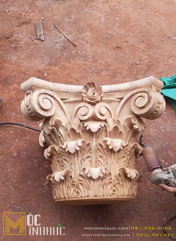 Mẫu hoa văn phù điêu đầu cột gỗ tự nhiên