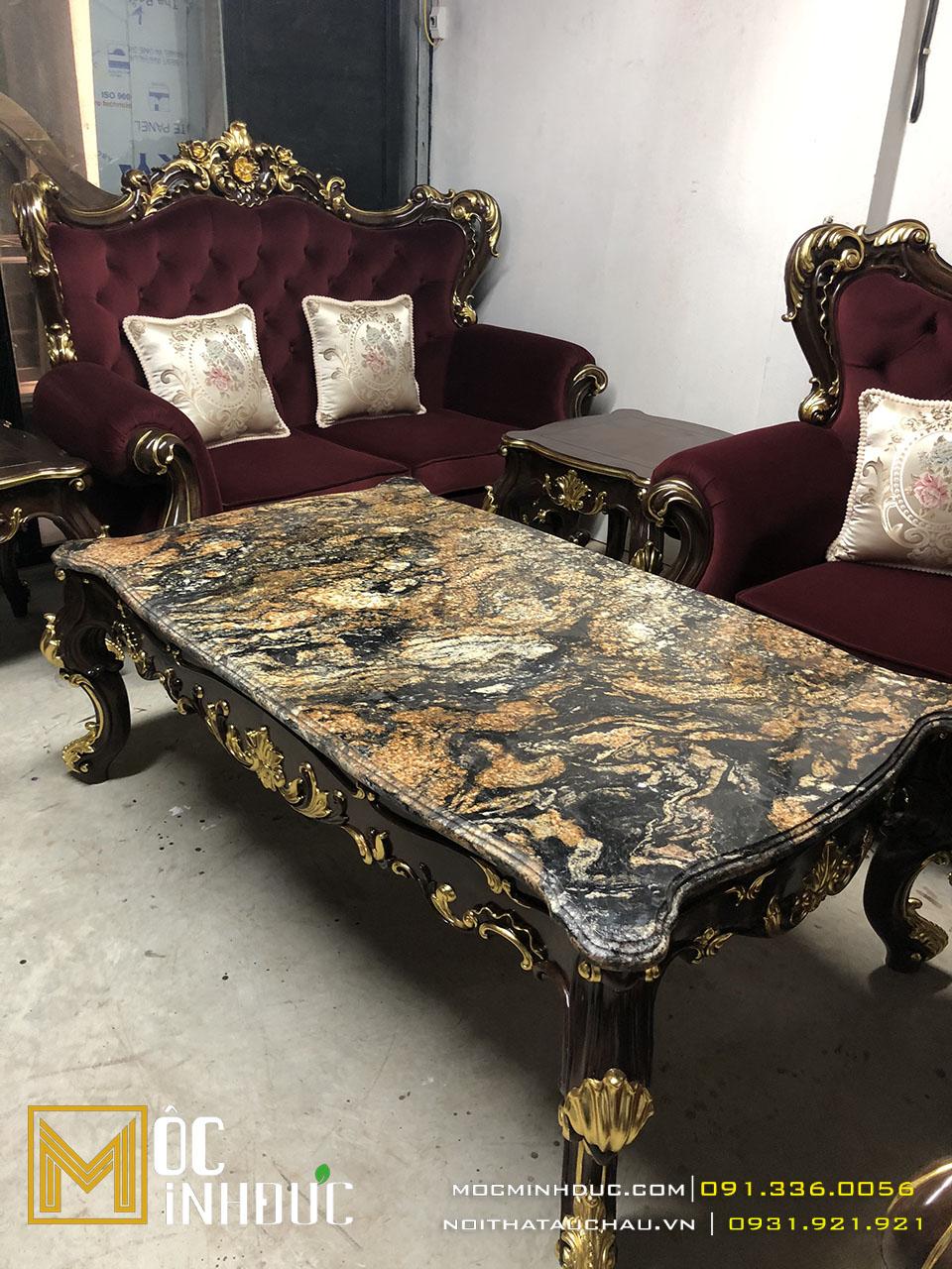 Gia công bộ bàn ghế sofa dát vàng đẹp