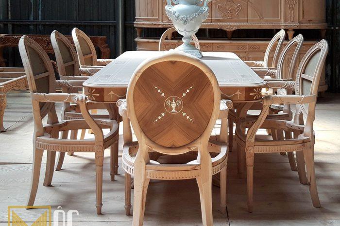 Sản xuất phôi bàn ghế nội thất gỗ tự nhiên tân cổ điển