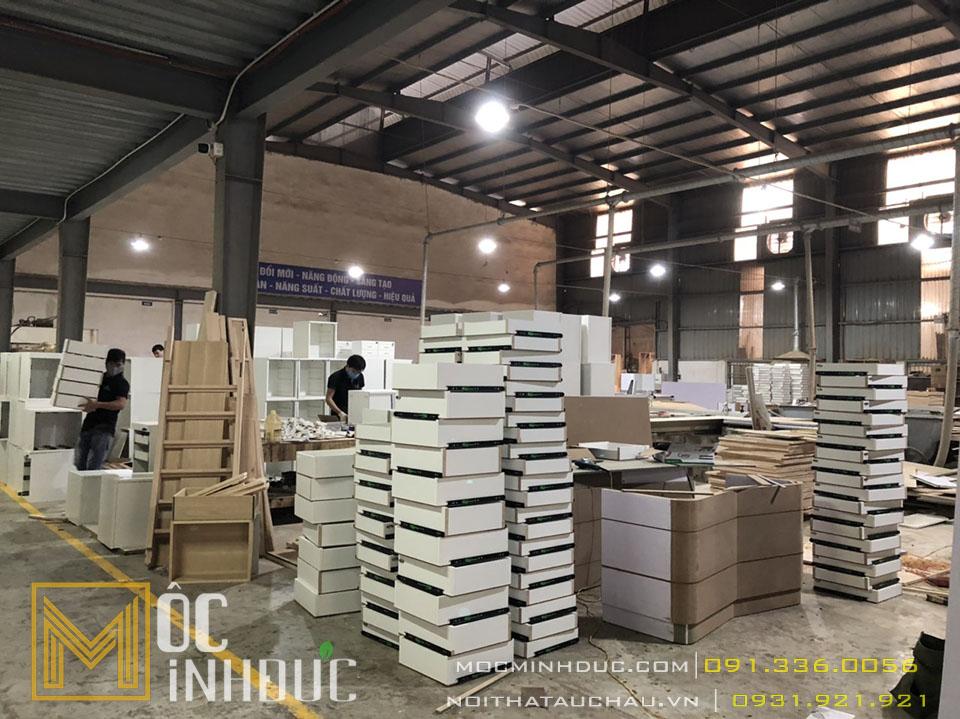 Hình ảnh thi công sản xuất nội thất gô công nghiệp