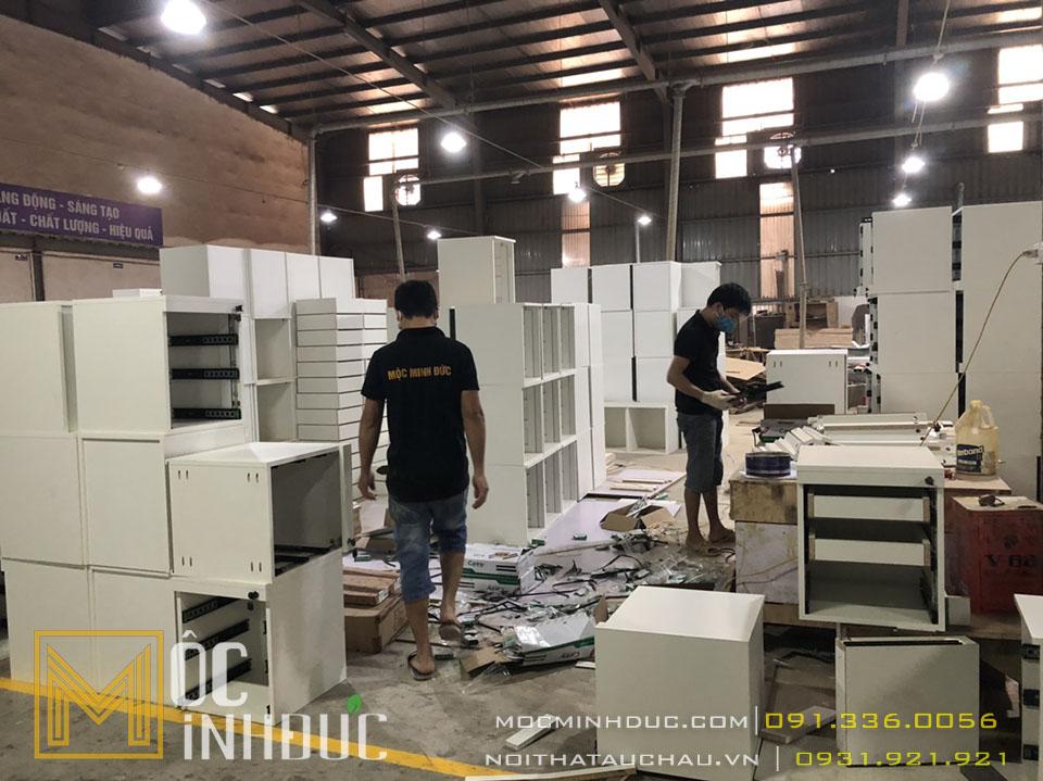 Hình ảnh thi công hộp tủ gỗ công nghiệp văn phòng