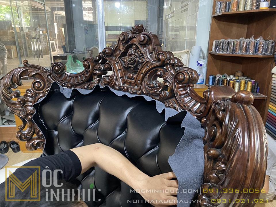 Bộ Sofa đại 10 món gỗ gỗ đỏ da thật
