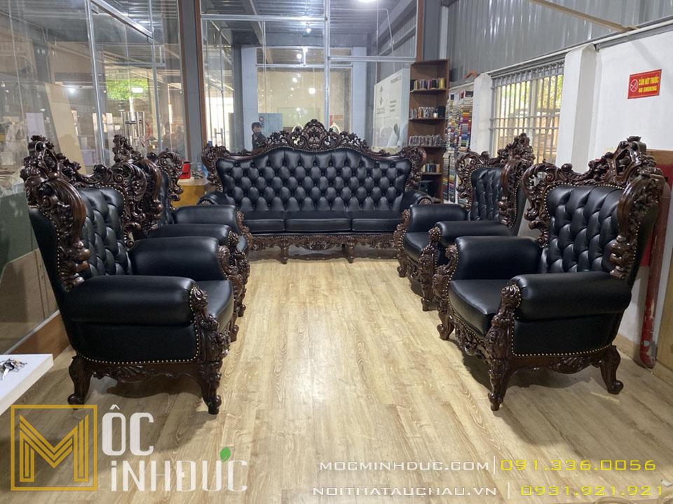 Bộ Sofa da 10 món tân cổ điển