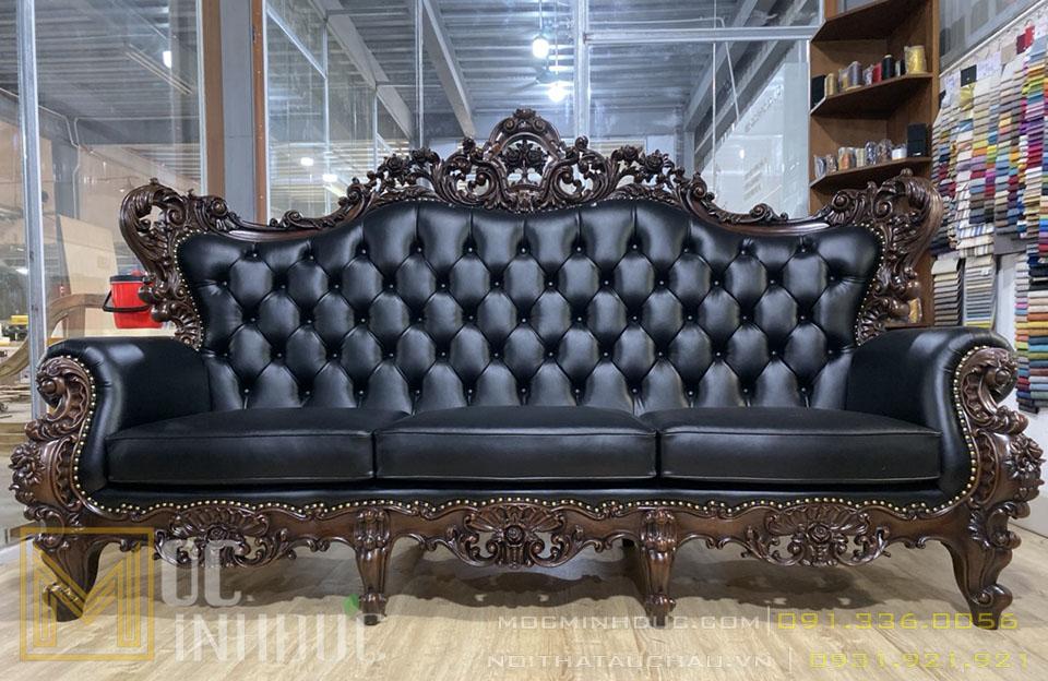 Bộ Sofa gỗ gõ đỏ 10 món bọc da xịn
