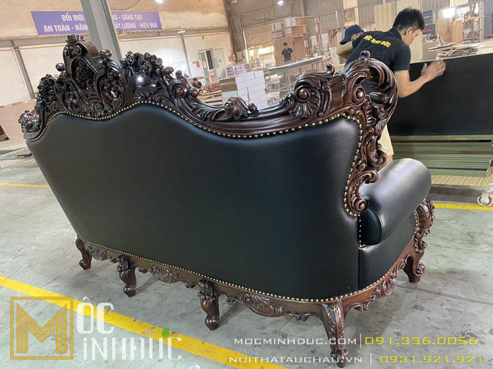 Ghế bành Sofa bọc da đen gỗ gõ đỏ