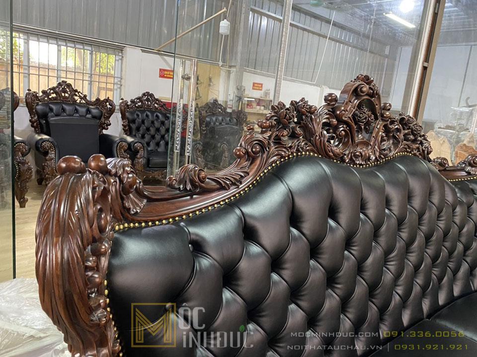 Xưởng sản xuất sofa gỗ gõ đỏ da thật