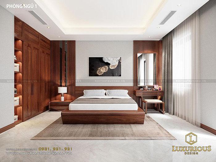 Hình ảnh phòng ngủ gỗ óc chó