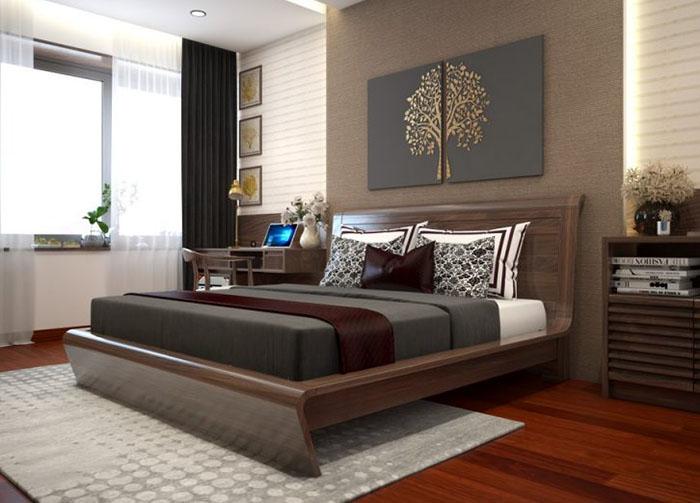 Mẫu giường gỗ óc chó đẹp