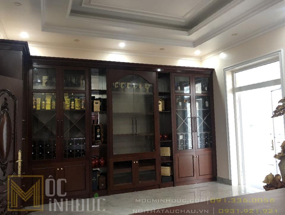 Thi công tủ rượu trong không gian phòng bếp ăn