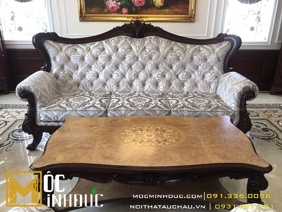 Mẫu bàn ghế sofa phòng khách cao cấp phong cách tân cổ điển