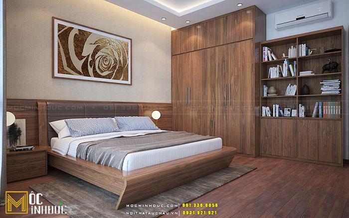 Giường ngủ gỗ óc chó phong cách đồng gia