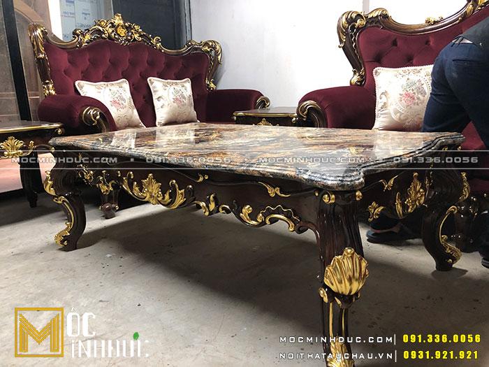 Bộ bàn ghế phòng khách gỗ óc chó dát vàng