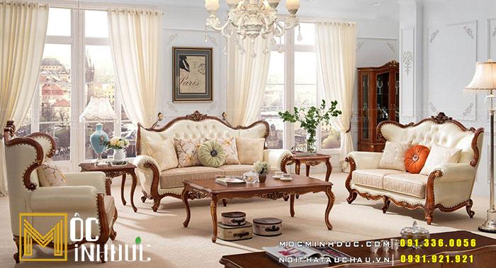 Ghế Sofa tân cổ điển màu kem