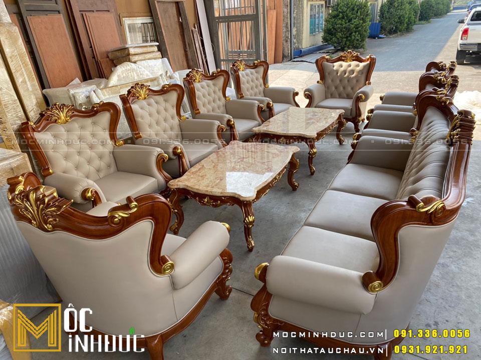 Bộ Sofa gỗ gõ óc chó dát vàng