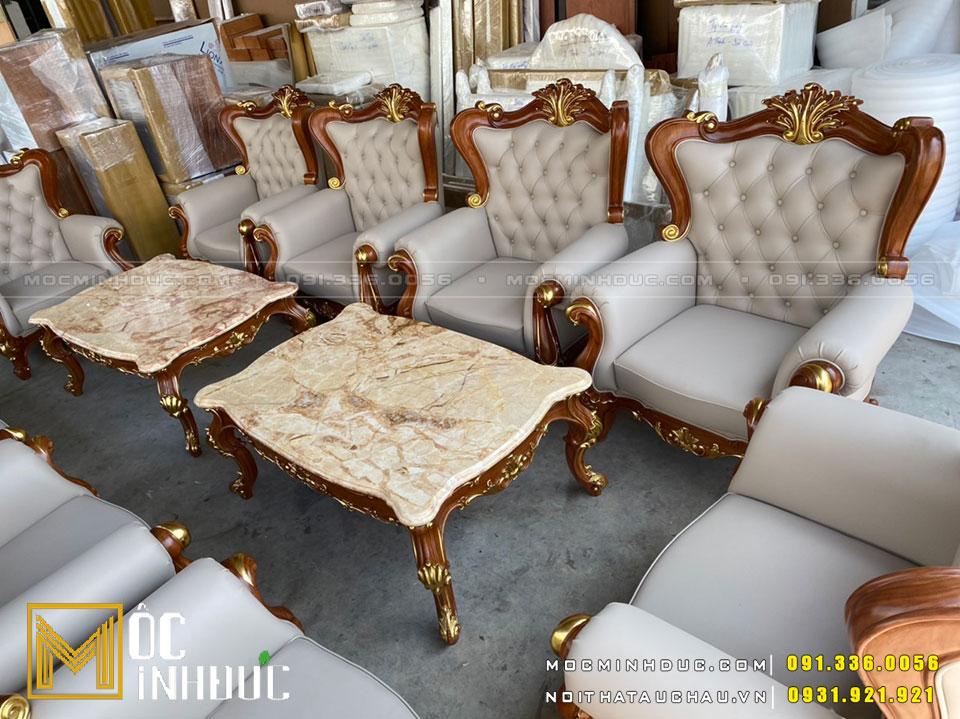 Bộ Sofa gỗ sồi bọc da dát vàng