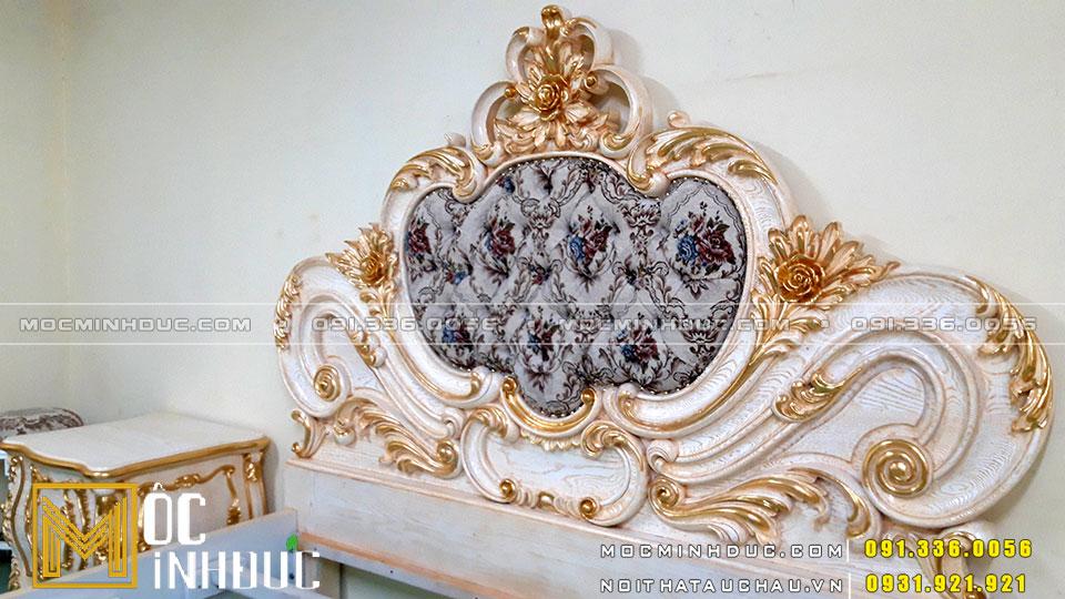 Giường gỗ tân cổ điển sơn lộ tom dát vàng