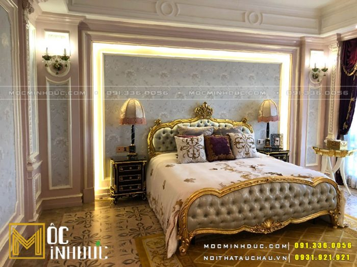 Giường tân cổ điển dát vàng