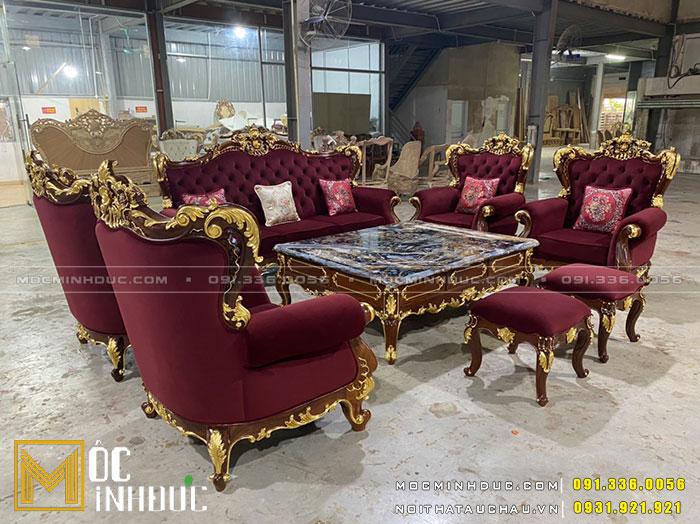 Bộ bàn ghế Sofa phòng khách dát vàng gỗ gõ đỏ