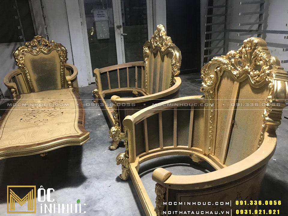 Sản xuất bộ Sofa phòng khách dát vàng