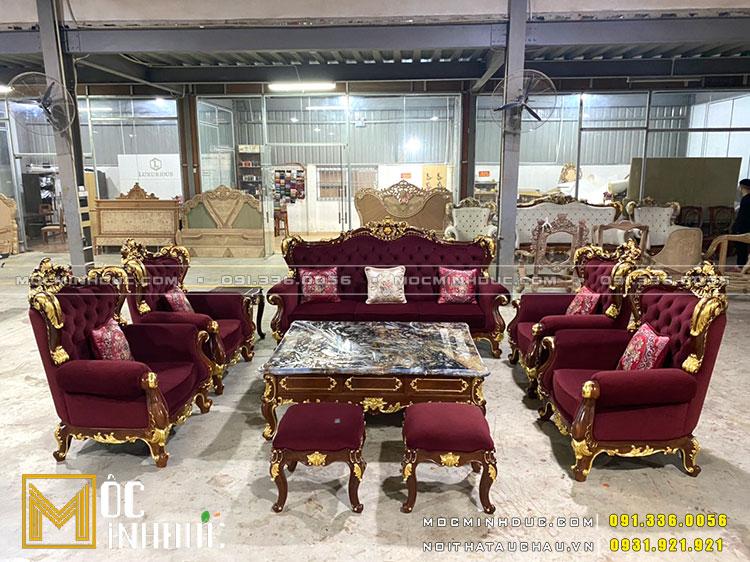 Bộ Sofa gỗ Hương dát vàng hồng cao cấp