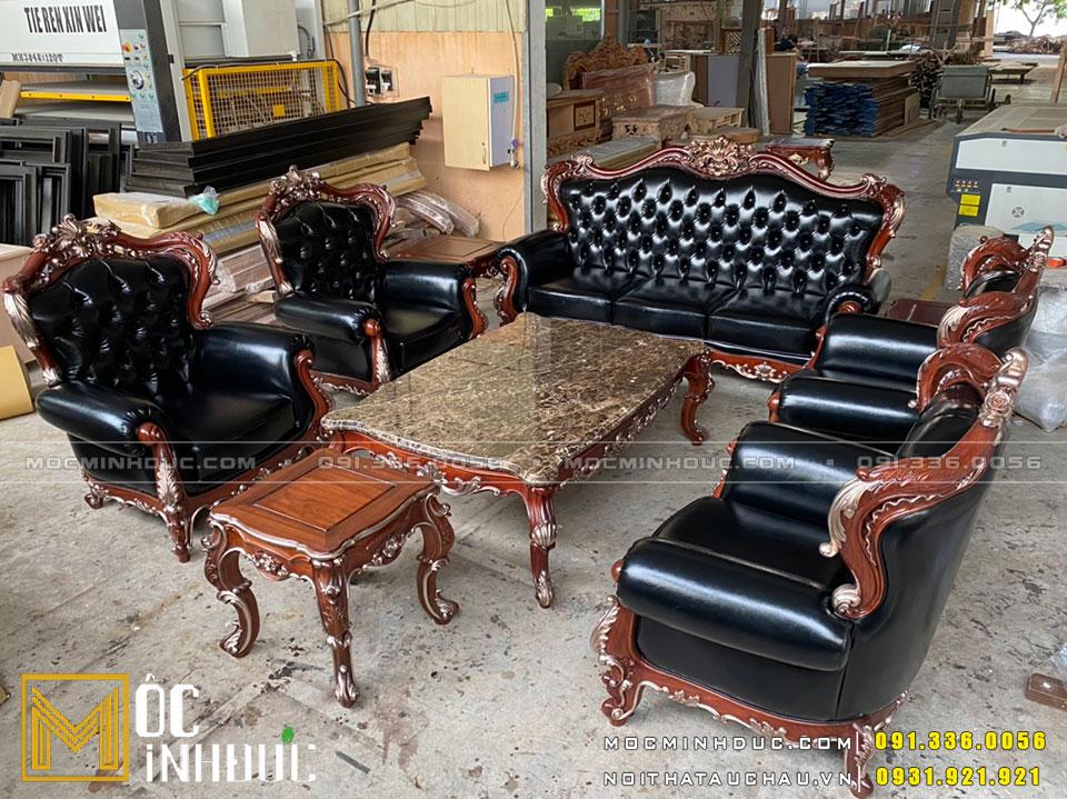Bộ Sofa gỗ Hương dát vàng hồng